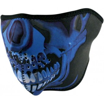HALF MASK BL CHROME SKULL